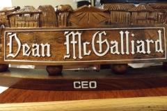CEO Deano McGalliard's nameplate